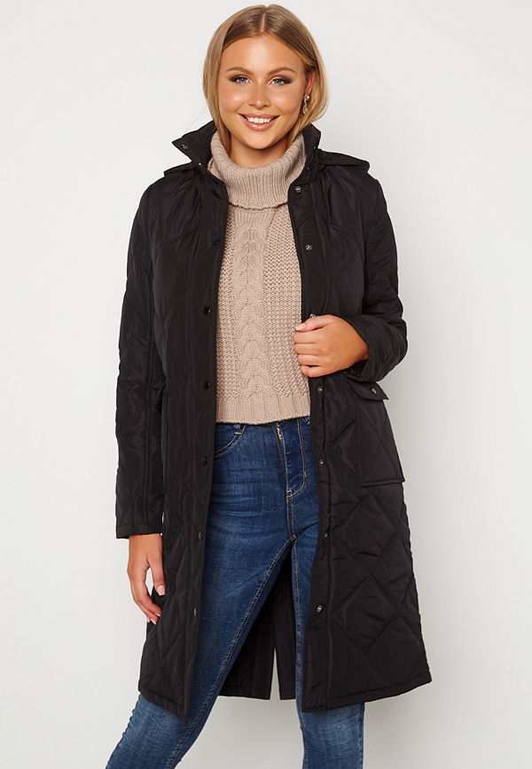 Happy Holly Isabelle Quilted Coat Black