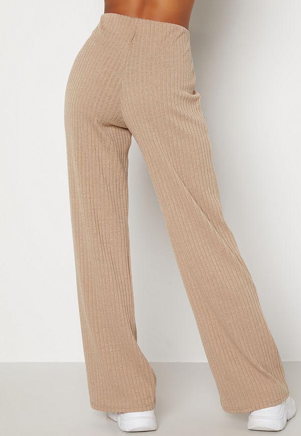 Bubbleroom byxor Zilla fine knitted trousers Beige melange