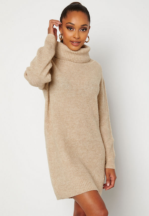 Bubbleroom Melissi knitted sweater dress Beige