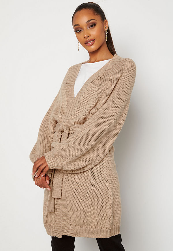 Bubbleroom Bonnie knitted cardigan Beige