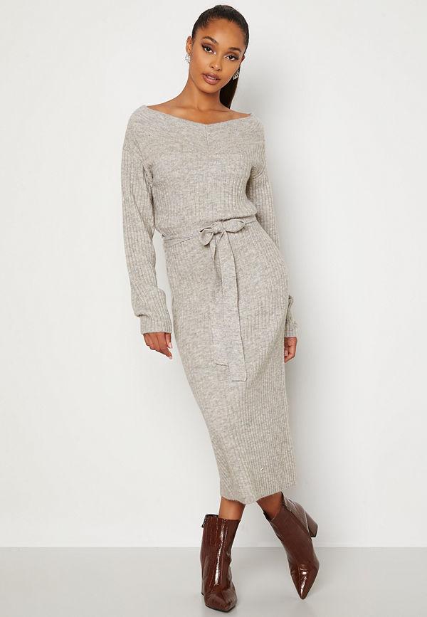 Bubbleroom Meline knitted dress Grey melange