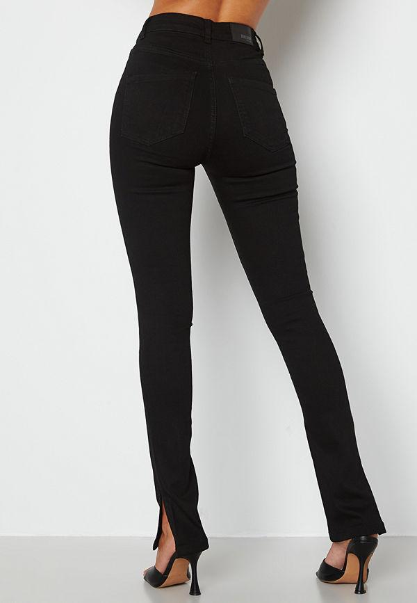Bubbleroom Bianca slit high waist superstretch jeans Black