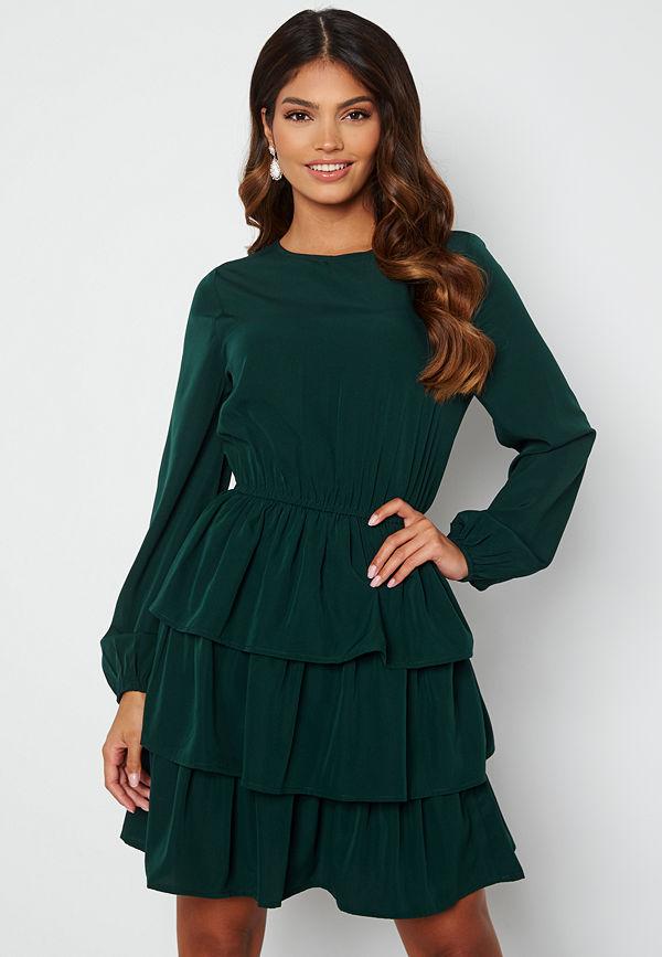 Happy Holly Astrid Flounce Dress Dark green
