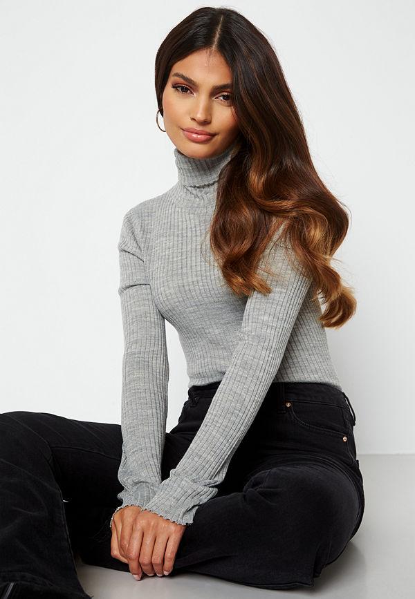 Selected Femme Costina LS knit rib rollneck Light Grey Melange