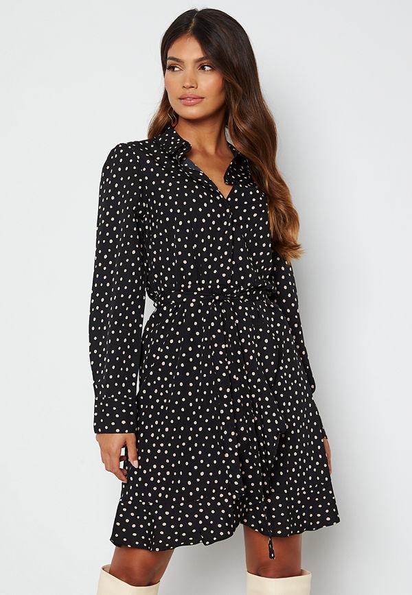 Bubbleroom Omarah shirt dress Black / Beige / Dotted