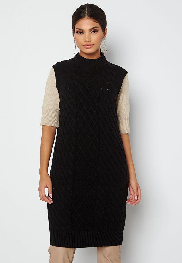 Vila Zuri Cable S/L Knit Vest Dress Black