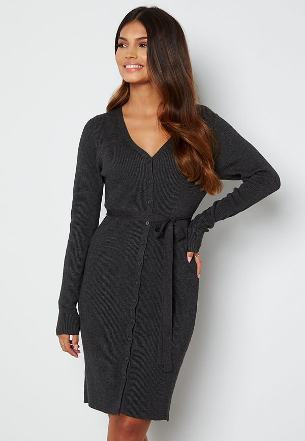 Pieces French LS V-Neck Knit Dress Dark Grey Melange