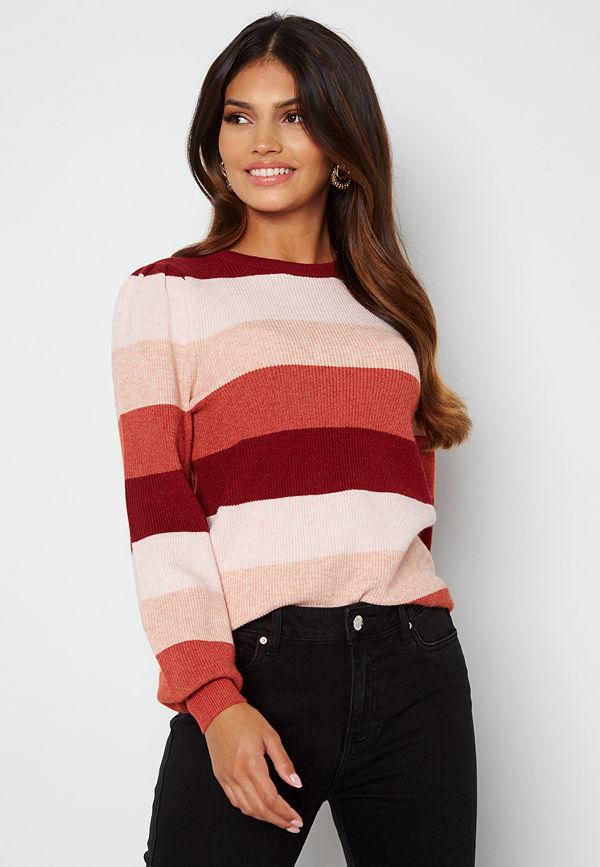 Only Katia L/S Stripe Pullover Merlot Stripes:Sepia