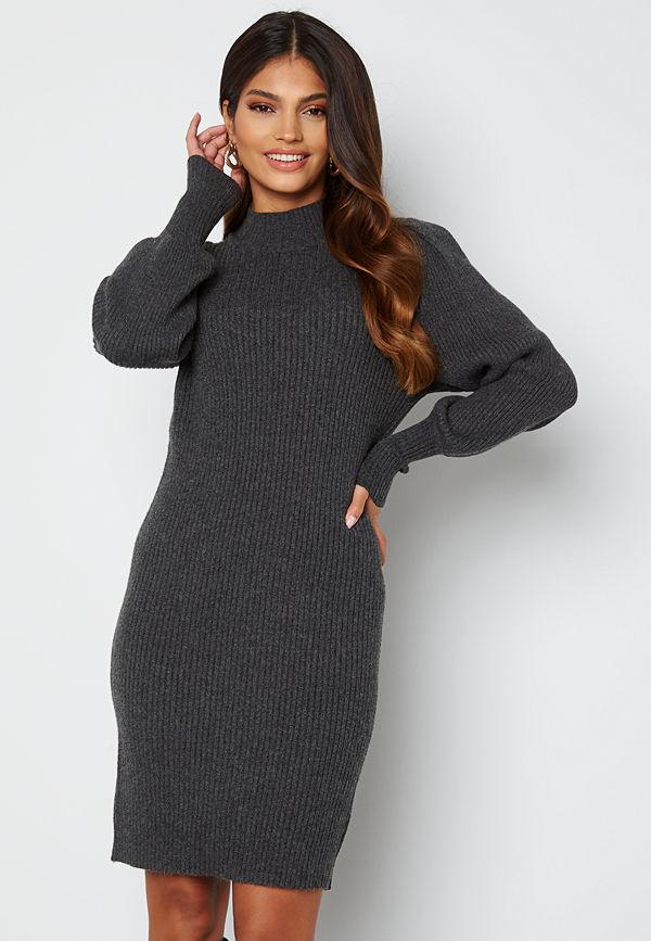 Only Katia L/S Dress Knit Dark Grey Melange