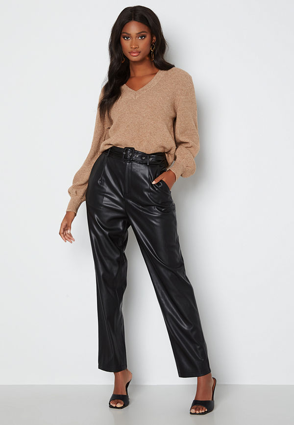 Only byxor Lucy Faux Leather Pant Black