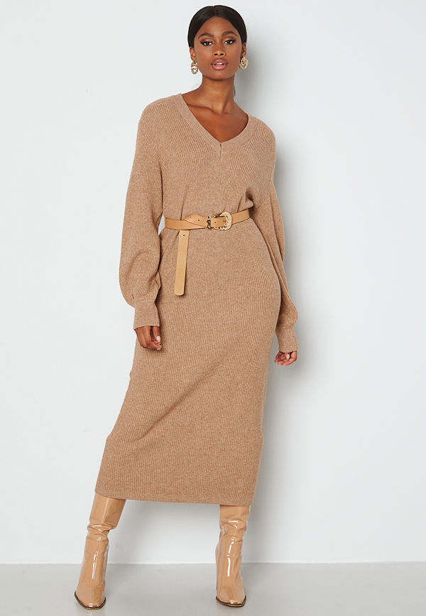 Object Collectors Item Malena L/S knit dress Chipmunk Melange