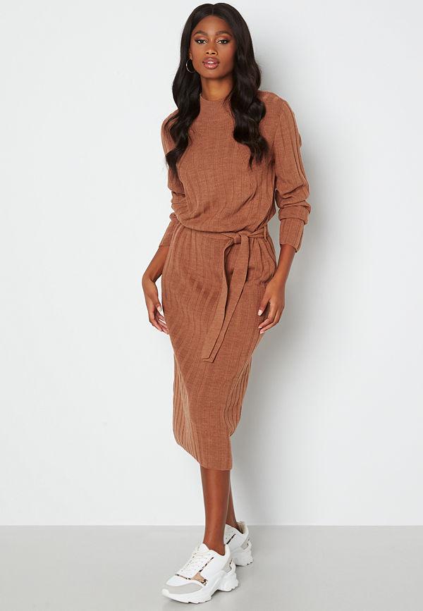 Only New Tessa L/S O-Neck Dress Argan Oil Det: Melan