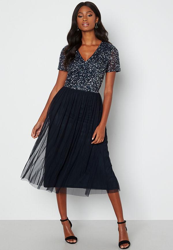 Angeleye Short Sleeve Sequin Embellished Midi Dress Navy