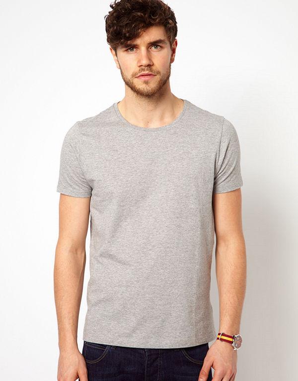 ASOS DESIGN t-shirt with crew neck in grey - Grey marl