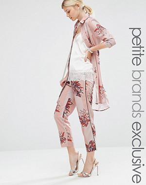 Alter Petite Stripe Floral Printed Cigarette Pyjama Trouser