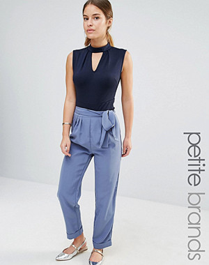 Alter Petite Tailored Trousers With Tie Waist