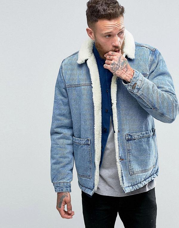 ASOS Borg Lined Denim Jacket in Blue Wash