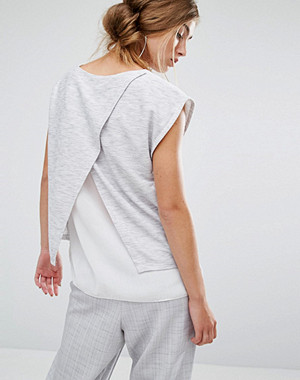 Parallel Lines Top With Wrap Back And Double Layer