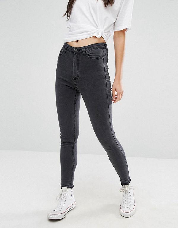 Boohoo High Rise Slim Fit Jean With Frayed Hem