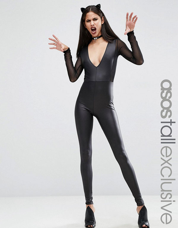 Asos Tall Sexy Fishnet Insert Faux Leather Catsuit