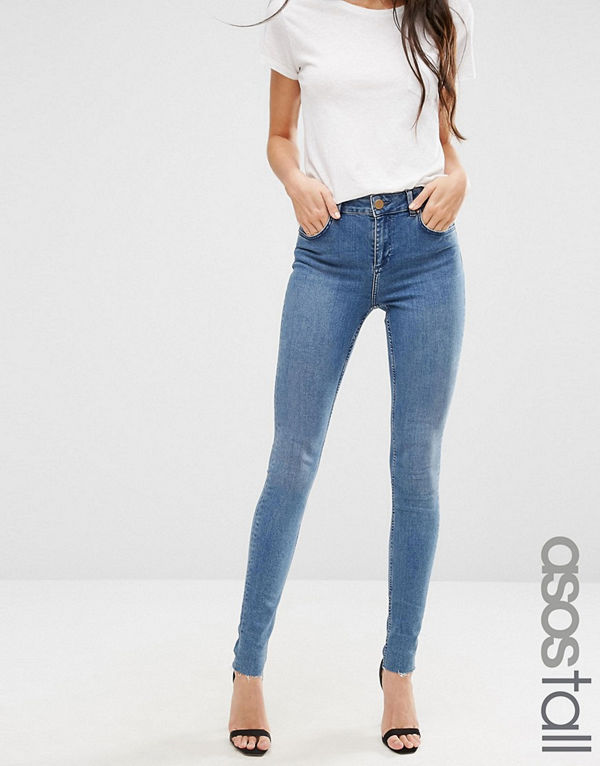 Asos Tall LISBON Mid Rise Jeans in Zoe Wash
