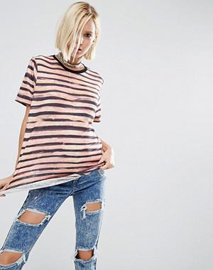 ASOS T-Shirt In Broken Stripe