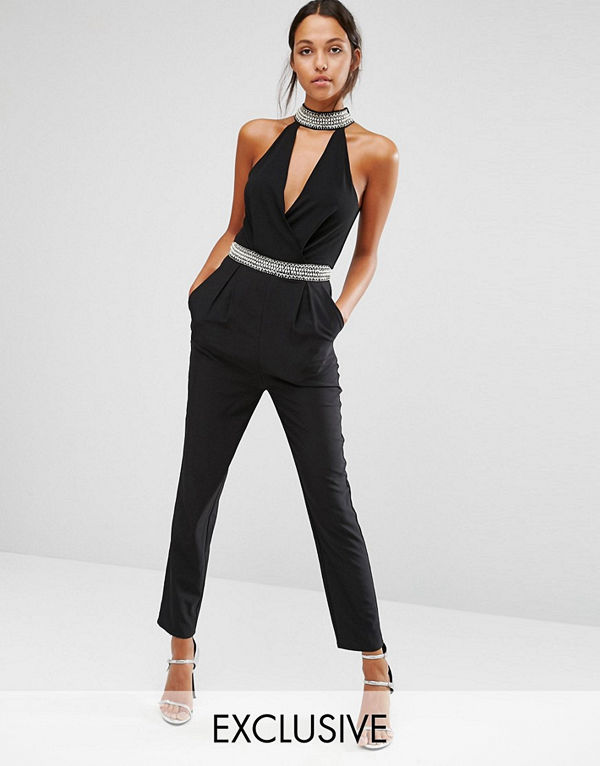 TFNC High Neck Plunge Jumpsuit With Embellished Trim
