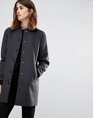 Vero Moda Contrast Rib Long Line Formal Bomber