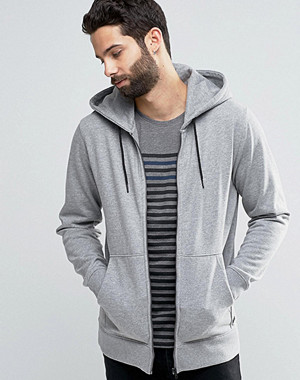 Only & Sons Zip Through Flecked Jersey Sweater