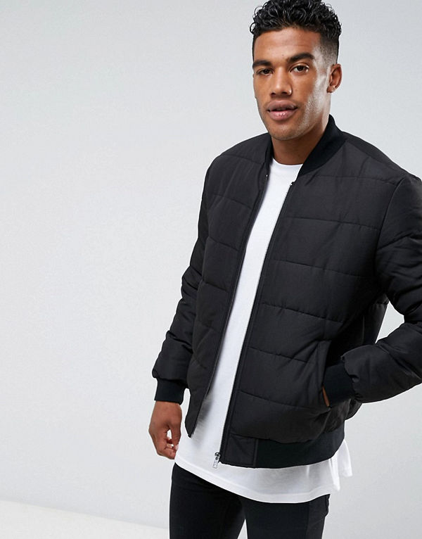 ASOS Quilted Bomber Jacket in Black