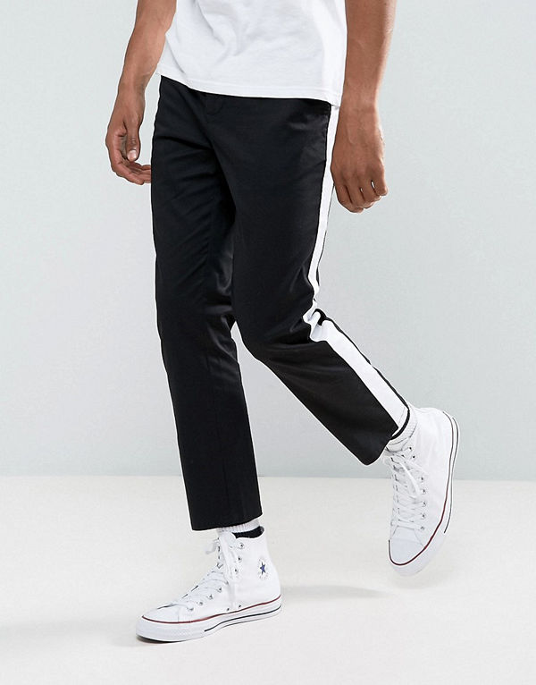 ASOS Slim Cropped Chinos With Side Stripe In Black