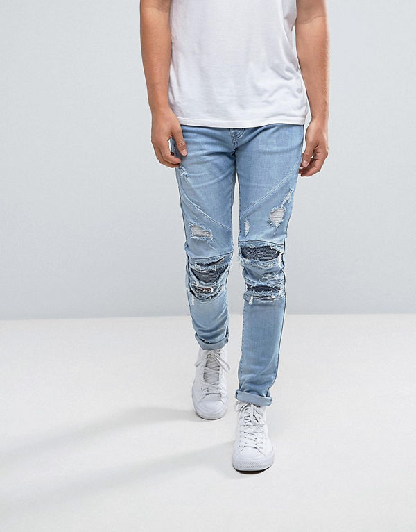 Cayler & Sons Skinny Biker Jeans In Blue With Distressing