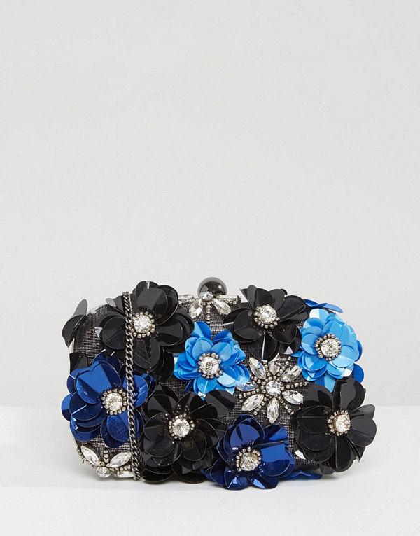 Park Lane kuvertväska Handmade Floral Embellished Structured Clutch Bag
