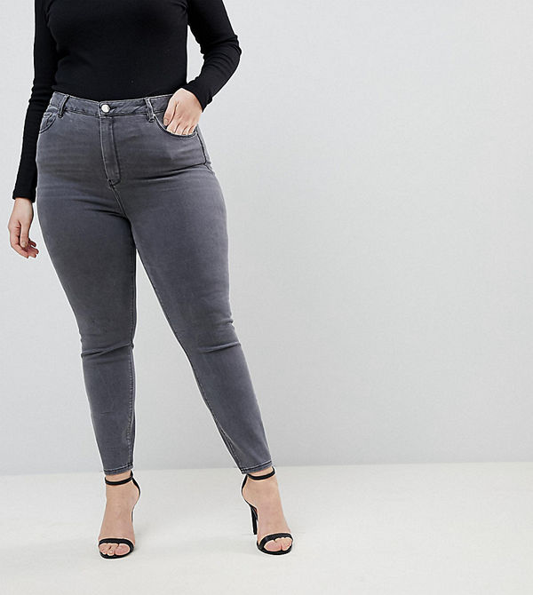 ASOS Curve Ridley Grå skinny jeans med hög midja