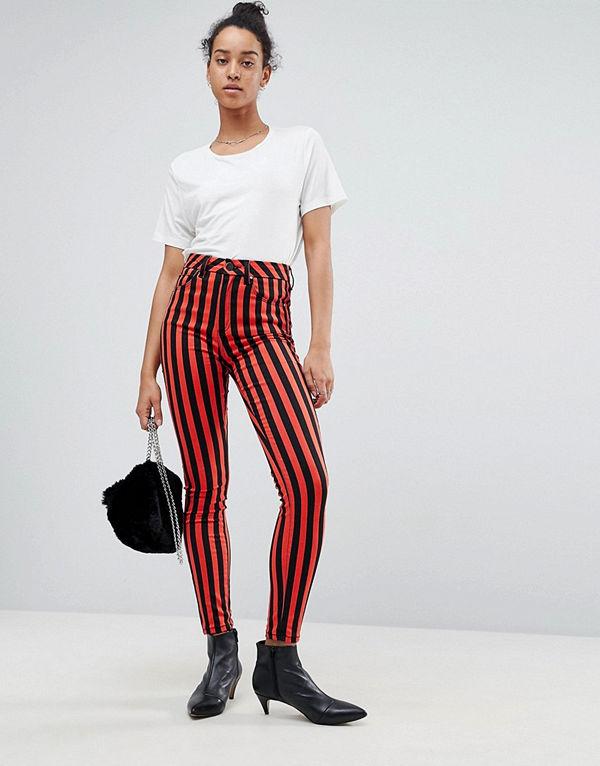 ASOS DESIGN 'SCULPT ME' Randiga premium-jeans med hög midja Rand