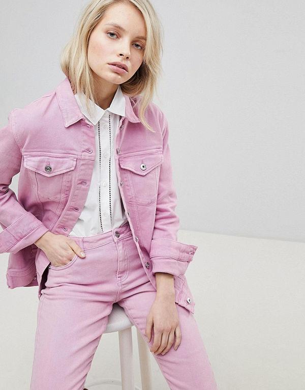 Risultati immagini per джинсовая куртка оверсайз розовая