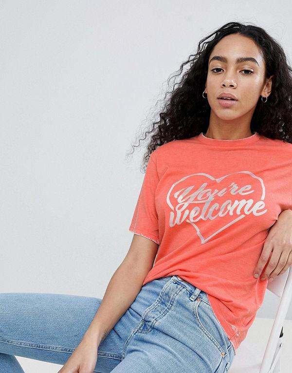 "ASOS DESIGN Orange t-shirt med ""You're Welcome""-tryck"
