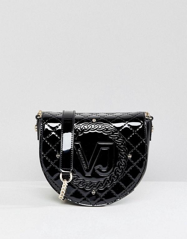 Versace axelväska Jeans Patent Saddle Bag
