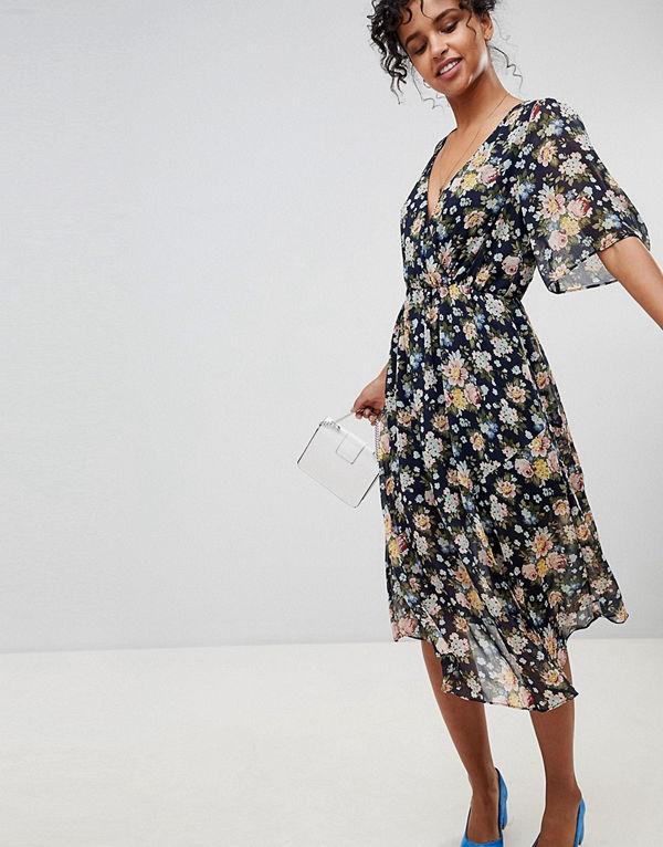 0c3a354b9782 Pepe Jeans Magaly Floral Wrap Midi Dress - Multi - Klänningar online ...