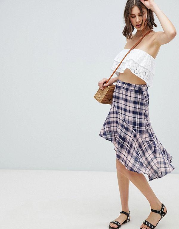 Vero Moda Rutig kjol med rynkad fåll Silverrosa
