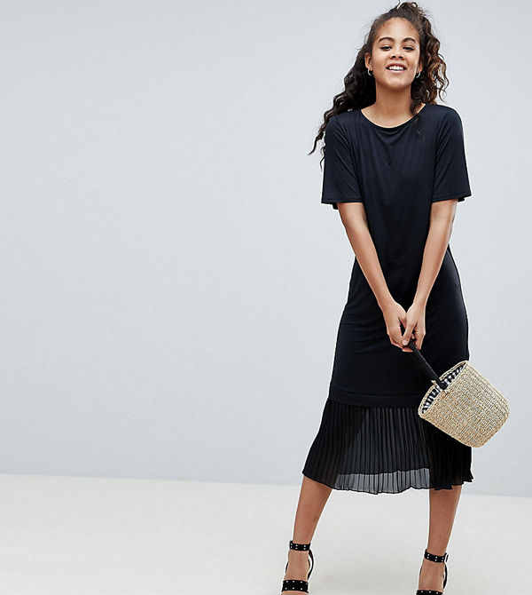 Asos Tall Asos Design Tall Midi T Shirt Dress With Pleated