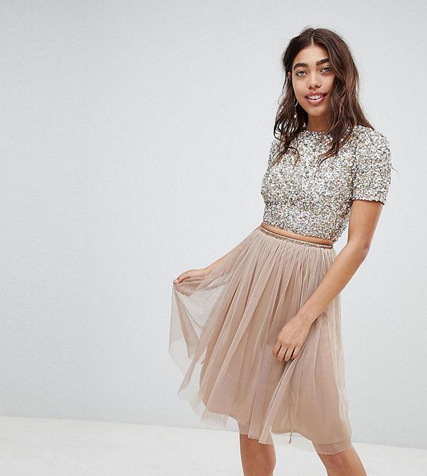 Lace & Beads Brungrå midikjol i tyll Brungrå