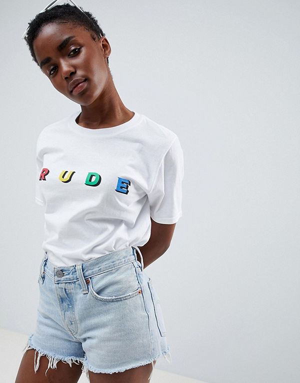 "Adolescent Clothing T-shirt ""rude"" Vit"
