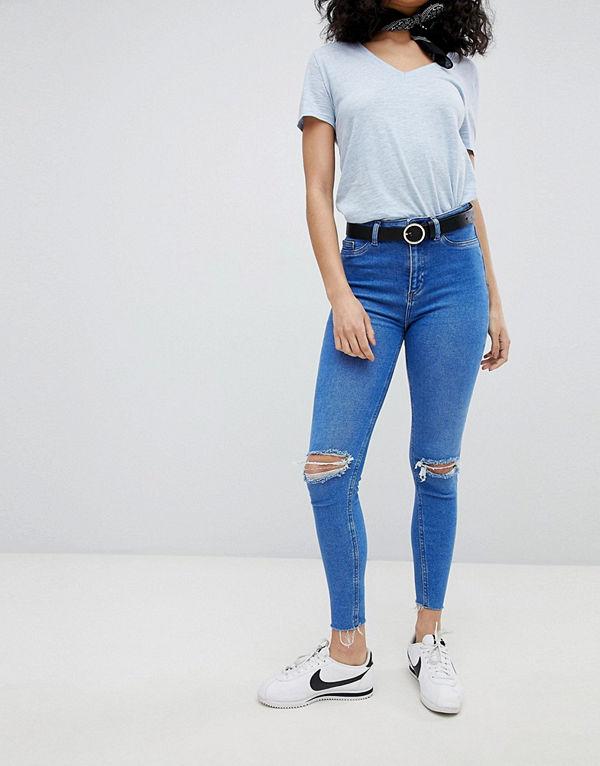 New Look Hallie Disco Slitna jeans med hög midja Ljusblå