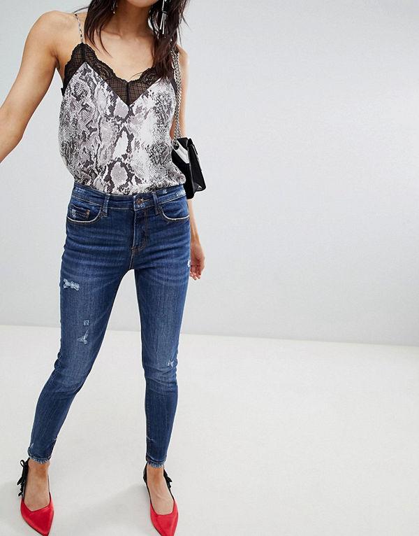 Stradivarius Blå skinny jeans med hög midja - Jeans online ... 3b4118159214a