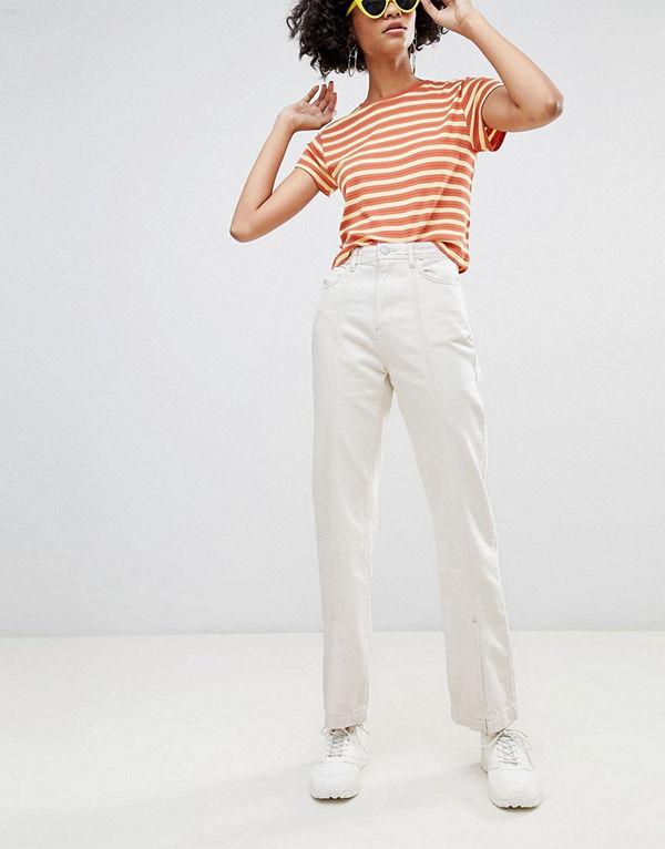 Weekday Limited Collection Mom jeans i ekologisk bomull med söm framtill och slits i fållen Écru