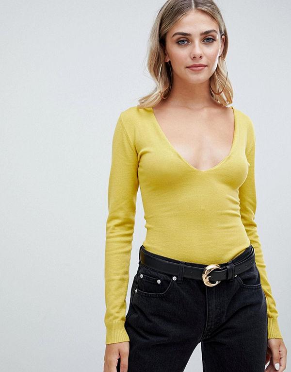 Missguided Stickad urringad bodysuit Mustard senapsgul