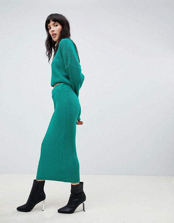 ASOS DESIGN Ribbstickad kjol