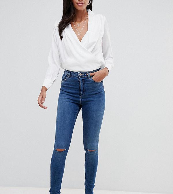 Asos Tall Ridley Mörktvättade slitna skinny jeans med hög midja Extreme dark wash bl