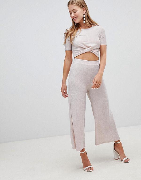 New Look Rosa culotte-byxor med glitter Ljusrosa